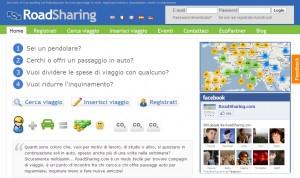 La homepage di Roadsharing.com