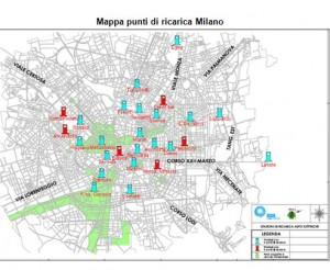 Mappa dei punti di ricarica a Milano