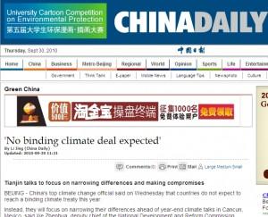 La pagina del ChinaDaily on-line dedicata agli incontri di Tianjin