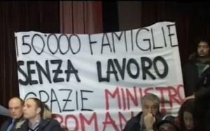 Uno striscione alla manifestazione di Roma, Courtesy of Youdem.tv