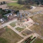 Vista aerea della demolizione della Chiesa di San Lamberto a Immerath